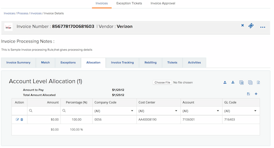 Automate invoice allocation