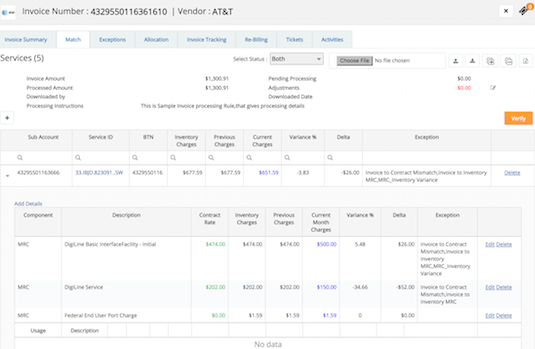 Update network portfolio with invoice detail